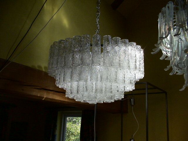 Sarah potter mid century and modern furniture italian chandelier murano clear textured glass tubes 1970s aloadofball Gallery